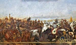 """""""The Charge of the 21st Lancers at Omdurman"""", by Richard C. Woodville"""