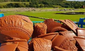 Samian ware pottery that was found at the site at the end of last month