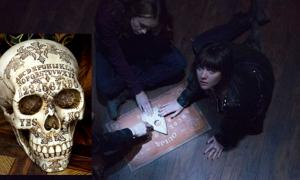 Trailer for Ouija Movie. (BagoGames/CC BY 2.0) Insert: Ouija board on your skull: noe valley, san francisco (2015).
