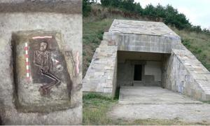 The grave of the unusually tall Bronze Age man found in Bulgaria. (Primorsko Museum of History/Nova TV) Representative image of the entrance to a tumulus near the town of Strelcha, Bulgaria.