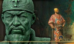 Bust of Timur ( CC BY-SA 3.0 ), and Timur standing with cane (Public Domain)