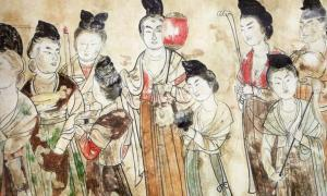 Tang court ladies carrying precious treasures, from the tomb of Princess Yongtai in the Qianling Mausoleum, near Xi'an in Shaanxi, China. 706 AD.