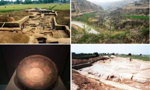 Images of the Taosi site in China, as well as a painted plate with dragon design found at the site