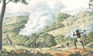 Aborigines using fire to hunt kangaroos by Joseph Lycett (ca. 1817)  Source: The Conversation / National Library of Australia