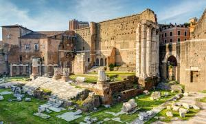 The Temple of Mars Ultor, constructed under Caesar Augustus in Rome's Forum of Augustus