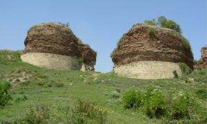 The ruins of the gates of Albanian capital Qabala in Azerbaijan