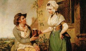 Detail of the painting 'The Ale-House Door' (c. 1790) by Henry Singleton.
