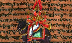 Agni, a deity which appears in the Atharva Veda. (Public Domain) Background: Detail of Codex Cashmiriensis folio 187a from Atharva-Veda Saṁhitā second half, by William Dwight Whitney and Charles Rockwell Lanman.
