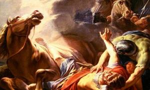 Detail, The Conversion of St. Paul. Paul and companions are knocked to the ground during the profound event.