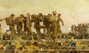 John Singer Sargent's Gassed presents a classical frieze of soldiers being led from the battlefield - alive, but changed forever by individual encounters with deadly hazard in war.