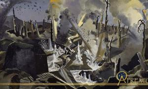 The view across a battlefield undergoing heavy bombardment by Paul Nash 1918 commissioned by the Ministry of Information