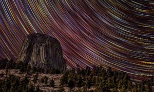 Devils Tower Star Trails. S