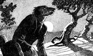 "Drawing of a werewolf in woodland at night. Main illustration for the story ""The Werewolf Howls"". Internal illustration from the pulp magazine Weird Tales"