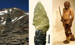 Ötzi Memorial, Austria (GFDL), Ötzi Arrow (Wierer et al), Ötzi Reconstruction (CC BY SA 3.0 )