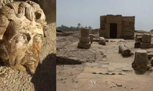 Head of Marcus Aurelius found at Aswan/Site of the newly discovered shrine at Luxor,