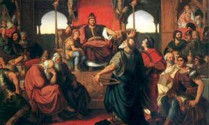 Mór Than's painting The Feast of Attila, based on a fragment of Priscus.