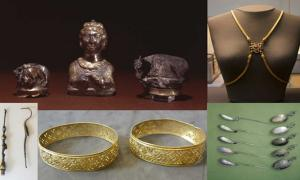 Three silver-gilt Roman piperatoria or pepper pots (CC BY NC SA 4.0), a gold body chain (Mike Peel/CC BY SA 4.0), toiletry items (Fæ/CC BY SA 3.0), two gold bracelets (Fæ/CC BY SA 3.0), and spoons (CC BY NC SA 4.0) found in the Hoxne hoard.