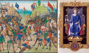 On Left - The Battle of Crécy. On Right – Philip VI of France.