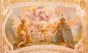 Sacrifices of Cain and Abel. Fresco from Chiesa di San Lorenzo in Palatio ad Sancta Sanctorum, Rome.