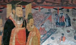 Liu Xiu, Emperor Guangwu of Han, Liu Heng, Emperor Wen of Han, or Cao Pi, King of Wei. (Public Domain) Background: Dahuting tomb banquet scene, mural detail, Eastern Han Dynasty. (Public Domain)