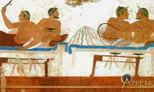 Pederastic couples at a symposium, as depicted on a tomb fresco from the Greek colony of Paestum in Italy.