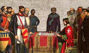A romanticized 19th-century recreation of King John signing Magna Carta. (Deriv.) (Public Domain) Background: Detail of Cotton MS. Augustus II. 106, one of only four surviving exemplifications of the 1215 Magna Carta text.