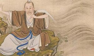 Detail of 'The Emperor depicted as a Taoist magician.' From 'Album of the Yongzheng Emperor in Costumes,' by anonymous court artists, Yongzheng period (1723—35). One of 14 album leaves, colour on silk. The Palace Museum, Beijing.