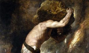 Detail of 'The Punishment of Sisyphus' (1548-1549) by Titian