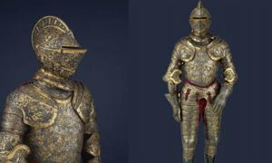 Two views of the Parade Armor of Henry II of France.