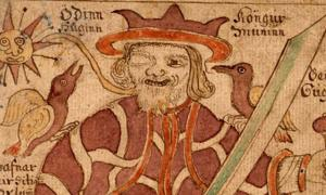 The one-eyed Odin with his ravens Hugin and Munin and his weapons. An illustration from an 18th-century Icelandic manuscript.