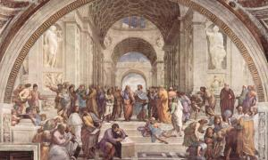 The School of Athens, fresco by Raphael (1509–1510), of an idealized Academy.
