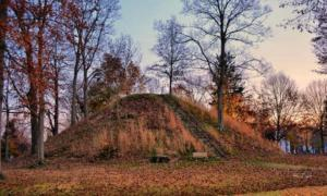 Example of an Adena mound in Mound Cemetery at Marietta Ohio. Unfortunately the Spearhead Mound was destroyed in 1940 for gravel operations.