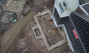 Aerial view of the ruins of a Roman library found in Cologne, Germany.