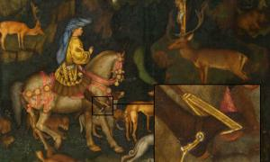The Vision of Saint Eustace, Pisanello, 1438–1442. Rider wearing high heels.