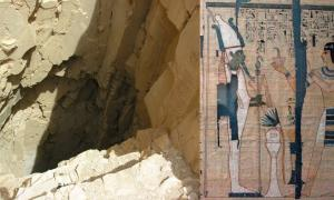 On Left – Theban tomb - burial site of Pinedjem II and a Royal Cache, tomb shaft. On Right – Pinedjem II as Theban High Priest of Amun. From his Book of the Dead. Source: Left, CC BY-SA 3.0; Right, CC BY-SA 2.5.