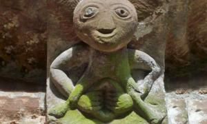 A Sheela na gig carving on a church in Kilpeck, England