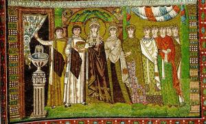 Mosaic - Empress Theodora and Retinue, San Vitale in Ravenna.