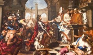 Allesandro Magnasco: Theodosius I Repulsed from the Church by Saint Ambrose.