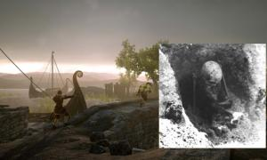 Main image: Screen of Gameplay of the video game War of the Vikings (public domain). Inset: One of the skeletons found in the Sandvika sitting graves, Central Norway (Photo: NTNU Museum of Natural History and Archaeology, 1965-66)