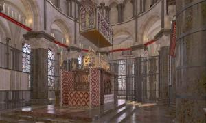 This is a CGI reconstruction of Thomas Beckets shrine.           Source: Dr John Jenkins / Taylor & Francis Group