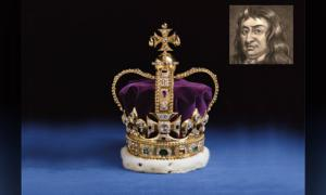 Main: The Crown Jewels. Credit: Historic Royal Palaces. Inset: An illustration of Thomas Blood. Photo source: Wikimedia.