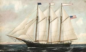 A three-masted schooner similar to the Thomas Hume