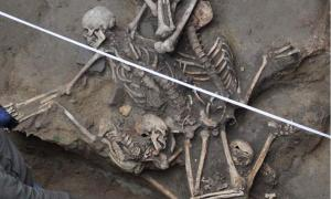 Three skeletons discovered in a pit excavated at Bucharest's University Square.
