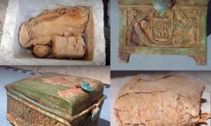Several packages wrapped in linen canvas (top left and bottom right) were found inside the chest. One package contained a wooden box (bottom left and top right), which is evidence that Thutmose II's lost tomb is nearby.        Source: Andrzej Niwiński / Warsaw University's Institute of Archaeology