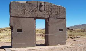 The Gateway of the Sun from the Tiwanku civilization in Bolivia.