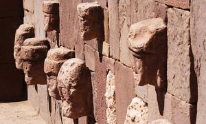 Stone faces in the walls of the Tiahuanaco temples