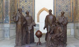 Timurid Emperor Ulugh Beg, an astronomer and khan, seen here with scholars in this statue.