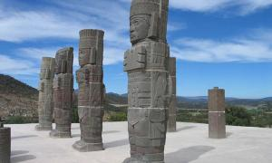 Magnificent columns in the form of Toltec warriors in Tula