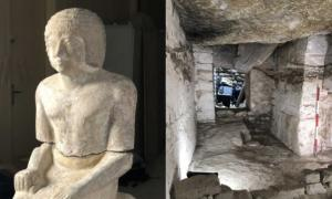 Statue of Kaires found in a freshly discovered tomb in Egypt.