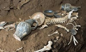 Skeletal remains and grave goods found in the 'Tomb of the Athlete.'